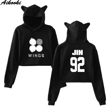 KPOP BTS Bangtan Boys Army Aikooki Women Cat ears Hooded Pullover Crop Tops Hoodies  Sweatshirt Women's Printed Hoodies   WINGS 92 93 94 95 97 AT_89_10