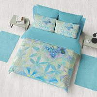Blue Butterfly Floral Duvet Cover or Comforter, blue green, beautiful bedding, sage, unique, bedroom decor