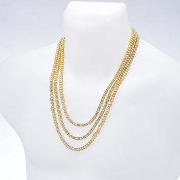 """Jewelry Kay style Men's Gold / Silver Plated Iced Triple Set Tennis Chain Necklace 22"""" / 24"""" / 26"""""""