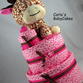 Giraffe Diaper Cake,Pink Diaper Cake,Baby Shower Cake,Washcloth Cupcake,Baby Shower Gift,New Baby Gift,New Mom Gift,Baby Shower Centerpiece