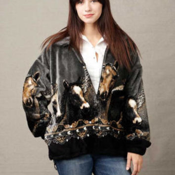 Heavy Fleece Jackets for Women, Mazmania Pewter Horses Jacket