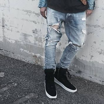 ripped jeans for men punk rock pants slim fit skinny distressed denim pants mens punk rock broken hole biker slim fit jeans