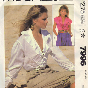McCall's Retro 1980s Sewing Pattern 7996 Tie Front Peasant Blouse Loose Fit Shirt Boho Hippie Style Fashion Ruffle Neckline Medium