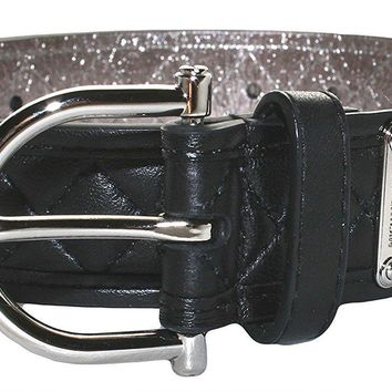 Michael Kors Black Genuine Leather Quilted Belt Size Small 554548