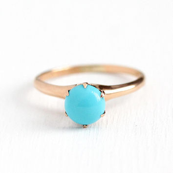 Antique Turquoise Ring - Edwardian 1900s Size 8 10k Rosy Yellow Gold - Ostby Barton OB Solitaire Blue Gemstone Cabochon Fine Jewelry