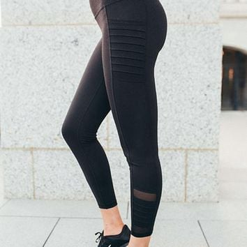 Black High Waist Moto Mesh Ribbed Leggings