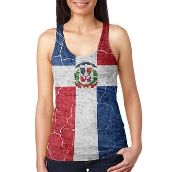 Distressed Dominican Republic Flag Juniors Burnout Racerback Tank Top