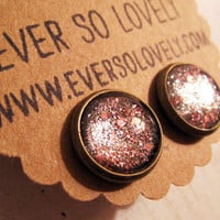 pink and metallic dark gray sparkly metallic handmade earrings by eversolovely