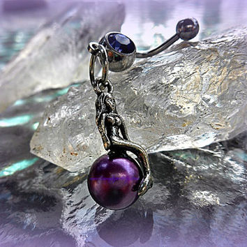 Fantasy Purple Mermaid Belly Ring, Siren, Bohemian, Fantasy Style, Ready to Ship