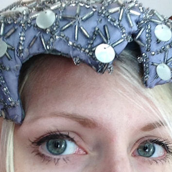 Flapper Hat, Beaded Hat, Grey, Battelsteins Houston