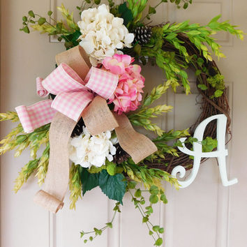 White & Pink Hydrangea Grapevine Wreath. Year Round Wreath. Spring Wreath. Summer Wreath. Monogram Wreath. Door Wreath.