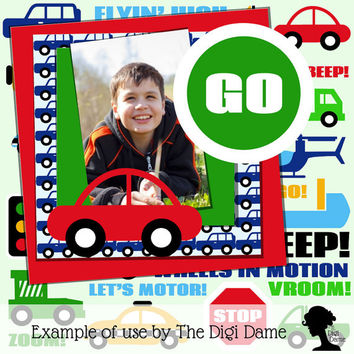 Digital Scrapbooking Elements/Clip Art: Beep Beep Transport Vehicles in Blue, Green, Red and Yellow