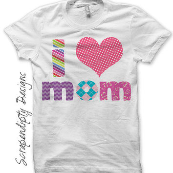 Iron on Mother's Day Shirt PDF - Love Mom Iron on Transfer / First Mothers Day Clothes / Girls I Heart Mom Tshirt / Pink Mom Shirt IT184G-C