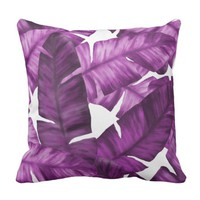 Pink Tropical Banana Leaves Pattern Throw Pillow
