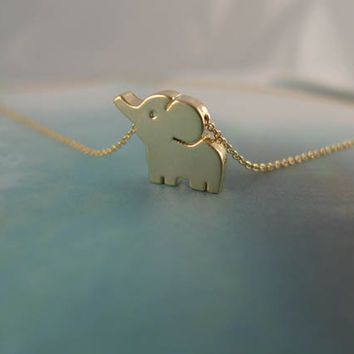 gold elephant necklace by LemonTreeLand on Etsy