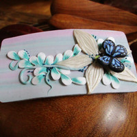 Hair barrette with butterfly and flowers,  Clip barrette, Polymer clay, Handmade. Unique gift.