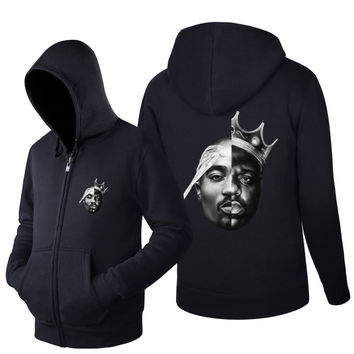 2016 Spring and AutumnNotorious Big 2PAC Eazy Tupac Ready To Die Skateboard Fleece Zipper Jacket Hoodies Hoody Men