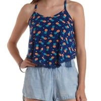 Navy Combo Pineapple Print Trapeze Tank Top by Charlotte Russe