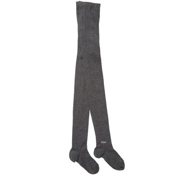 Girls Grey Ribbed Cotton Tights
