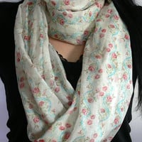 Floral Infinity Scarf. Circle Scarf. Tube Scarf. Women Accessory.