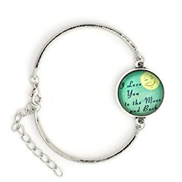 I Love You to The Moon and Back Bracelet Silver Tone BD57 Retro Lunar Fashion Jewelry