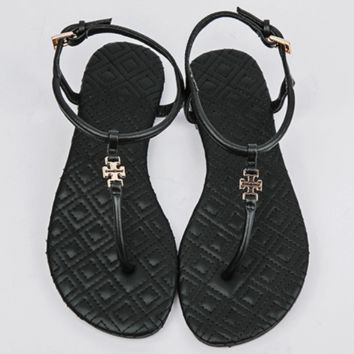 Tory Burch 2018 summer new style toe pinch flat bottom simple sandals F0714-1 Black