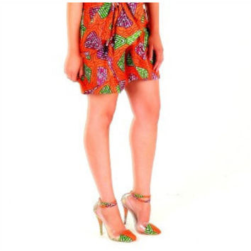 Orange African print Fabric Shoes