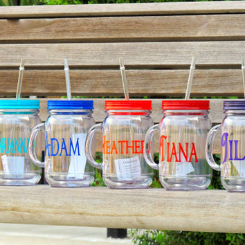 personalized mug, acrylic tumbler, mason mug, mason jar, bridesmaid cup, country wedding, drinking mason, monogrammed cup, stocking stuffer