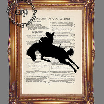 Black Silhouette Rodeo Bronc & Cowboy Art - Beautifully Upcycled Vintage Dictionary Page Book Art Print