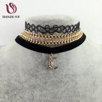 Danze 2017 Vintage Velvet Choker Necklaces For Women 3 Pcs/lot Sailor Moon Fur Ball Pendant Necklace Fashion Girls Chocker Colar