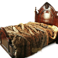 Faux Wolf Fur Bed Spread / Comforter / Medium Wolf  / Coyote Fur / Throw Blanket / Pillow Shams Sold Separately / All New Sizes