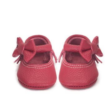 Red cherry bow Mary Janes genuine leather moccasins