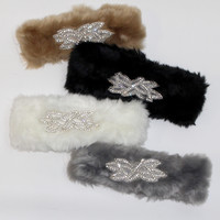 Rhinestones + Fur Ear Warmers