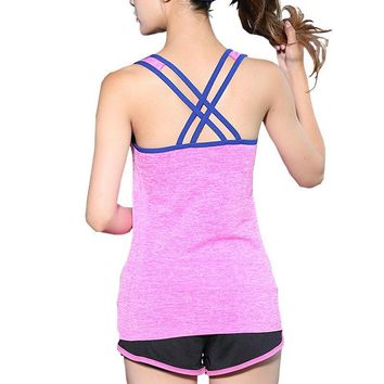 4Colors Quick Dry Running Vest Sexy Cross Back Tops Sleeveless Tank Tops For Women Sport Wear Yoga Shirt M-L