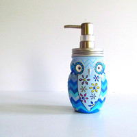 Owl Soap Dispenser: Hand painted Owl Blue chevron glass mason jar owl dispenser