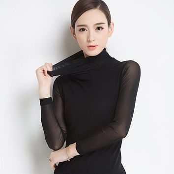 2017 Women Top Shirt Blouse Casual Fashion Bodycon Blouses Turtleneck Solid Sheer Long Sleeve Mesh Women's Shirts Female Tops