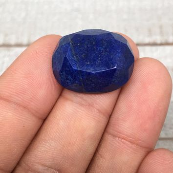 4.9g,22mmx18mmx8mm High-Grade Natural Oval Facetted Lapis Lazuli Cabochon,CP194
