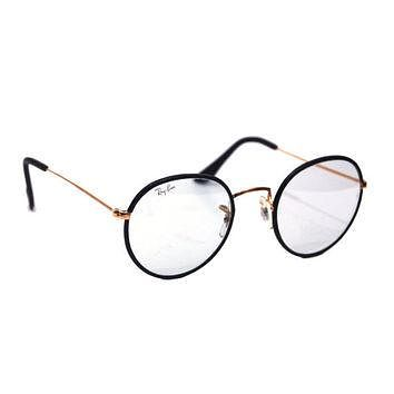 Vintage Ray Ban Bausch and Lomb Round Photo Blue Changeables Black Leather Sunglasses