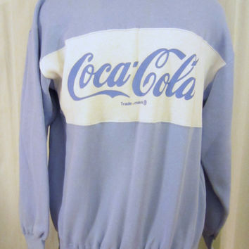 Vintage Deadstock 1986 COCA COLA SWEATER Poly-Cotton Unisex Medium Soft Amazing Classic Crewneck Sweatshirt