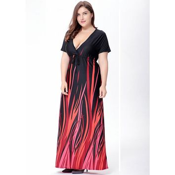 Women's Plus Size V-Neck Short Sleeve Summer Beach Maxi Dress.    In Sizes From XL to 5XL.    ***FREE SHIPPING***