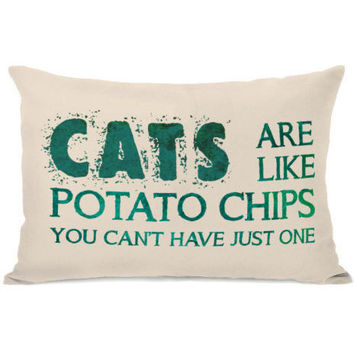 """""""Cats Are Like Potato Chips"""" Outdoor Throw Pillow by OneBellaCasa, 14""""x20"""""""