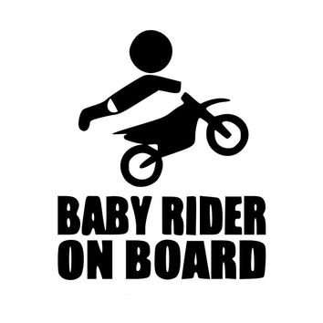 12.8CM*15.2CM Baby Dirtbike Sticker Dirt Bike Motocross Stunts Motorcycle Paddles Car Stickers And Decals Black/Sliver C8-1356
