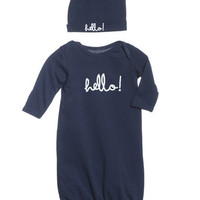 Harper | Navy Hello Baby Receiving Gown and Hat