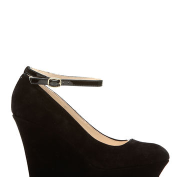 Black Faux Suede Ankle Strap Platform Wedges