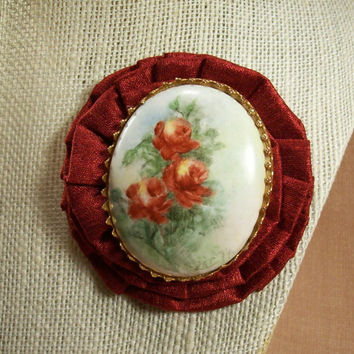 Hot Spanish Antique Red Glass Cameo Artisan Flower Wearable Art Pin Brooch Bold Hot Trendy Swag Love Of Spain Original Louzart Mixed Media