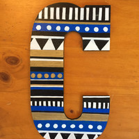C Tribal Painted Wood Letter