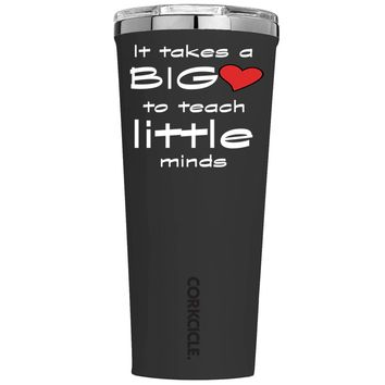 Corkcicle It Takes a Big Heart to Teach on Black 24 oz Tumbler Cup