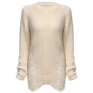 Sexy Frayed White Knitted Sweater Women Jumper Long Sleeve Warm Thick Winter Long Ripped Sweaters Pullover Oversized Pull Femme