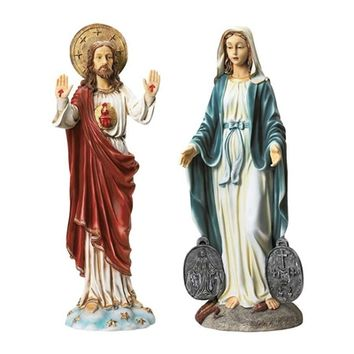 SheilaShrubs.com: Italian-Style Devotional Art Collection - Jesus and Mary Sculptures KY9313 by Design Toscano: Garden Sculptures & Statues