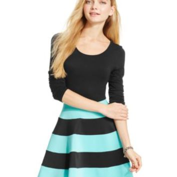 Trixxi Juniors' Long-Sleeve Colorblock Skater Dress | macys.com